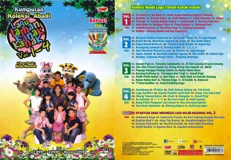 Sampul muka & daftar lagu paket album lagu anak-anak Indonesia